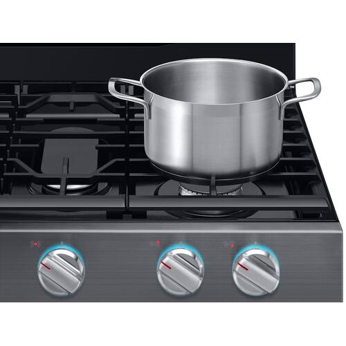 Samsung - 5.8 cu. ft. Freestanding Gas Range with True Convection in Black Stainless Steel