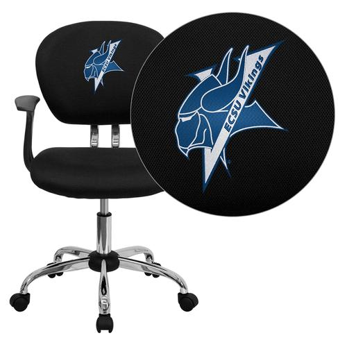Elizabeth City State University Vikings Embroidered Black Mesh Task Chair with Arms and Chrome Base