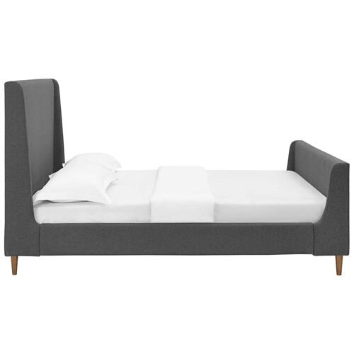 Modway - Aubree Queen Upholstered Fabric Sleigh Platform Bed in Gray