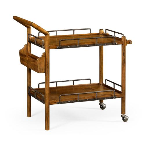 Country Walnut Bar Cart