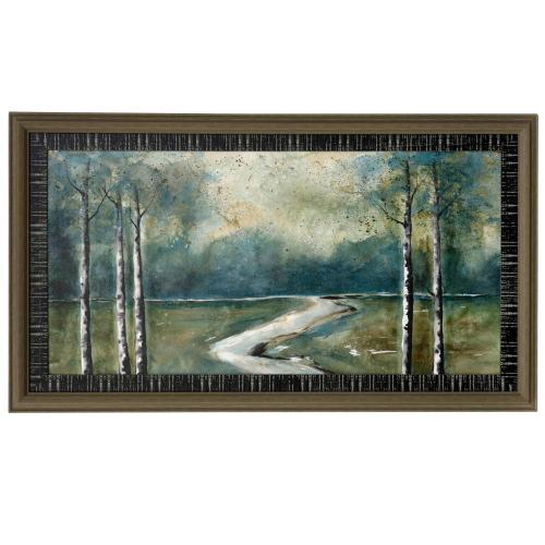Style Craft - GREEN LANDSCAPE  46in w X 26in ht  Made in USA  Textured Framed Print