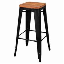 Metropolis Backless Bar Stool Wood Seat, Black