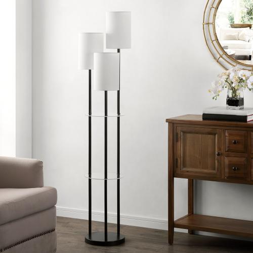 Soren Glass and Iron Floor Lamp - Black