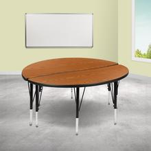 """See Details - 2 Piece 47.5"""" Circle Wave Flexible Oak Thermal Laminate Activity Table Set - Height Adjustable Short Legs"""