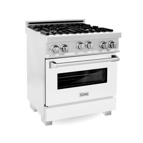 """Zline Kitchen and Bath - ZLINE 30"""" 4.0 cu. ft. Range with Gas Stove and Gas Oven in DuraSnow® Stainless Steel with Color Door Options (RGS-SN-30) [Color: White Matte]"""