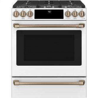 Café ™ 30'' Slide-In Front Control Gas Oven with Convection Range Matte White