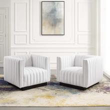 Conjure Tufted Armchair Upholstered Fabric Set of 2 in White