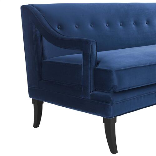 Concur Button Tufted Performance Velvet Sofa in Navy
