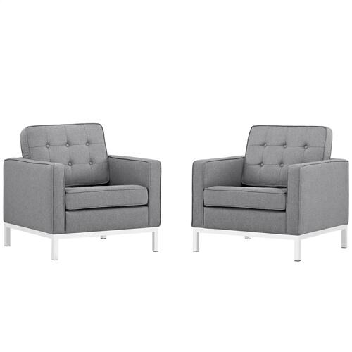 Modway - Loft Armchairs Upholstered Fabric Set of 2 in Light Gray