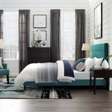 Melanie Twin Tufted Button Upholstered Fabric Platform Bed in Teal