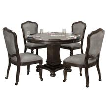 See Details - Vegas Dining and Poker Table Set - Gray Wood (5 Piece)
