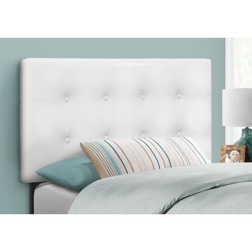 BED - TWIN SIZE / WHITE LEATHER-LOOK HEADBOARD ONLY
