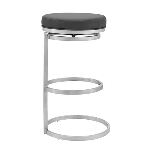 """Armen Living - Vander 26"""" Gray Faux Leather and Brushed Stainless Steel Swivel Bar Stool"""