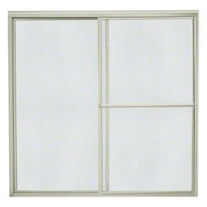 "Deluxe Sliding Bath Door - Height 56-1/4"", Max. Opening 57-3/4"" - Nickel with Rain Glass Texture Product Image"