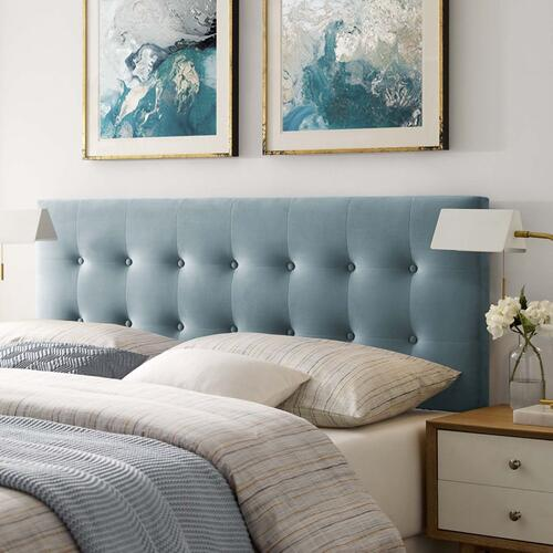 Emily Queen Biscuit Tufted Performance Velvet Headboard in Light Blue
