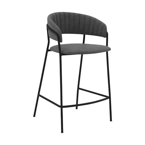 "Nara 26"" Modern Counter Height Bar Stool with Black Metal Finish and Gray Faux Leather"