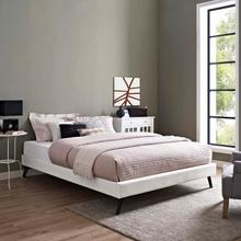 View Product - Loryn Queen Vinyl Bed Frame with Round Splayed Legs in White