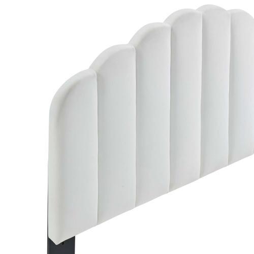 Veronique King/California King Performance Velvet Headboard in White