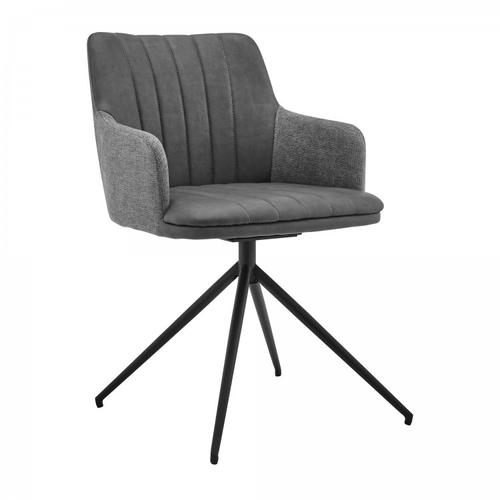 Simone Modern Faux Leather and Fabric Metal Swivel Dining Room Chairs - Set of 2