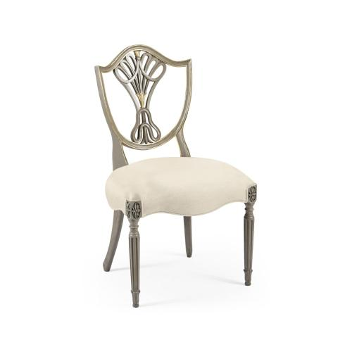 Sheraton Buckingham Grey & Gilded Dining Side Chair with Shield Back, Upholstered in Skipper
