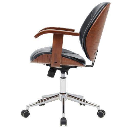 Samuel KD PU Bamboo Office Chair w/ Armrest, Black/Walnut