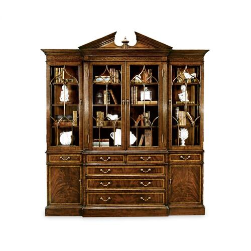 Triple Mahogany Display Cabinet with Drawers