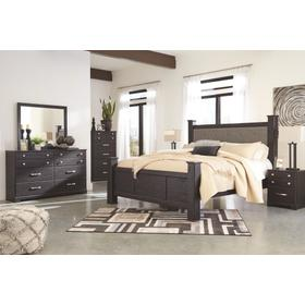 King Poster Bed With Mirrored Dresser