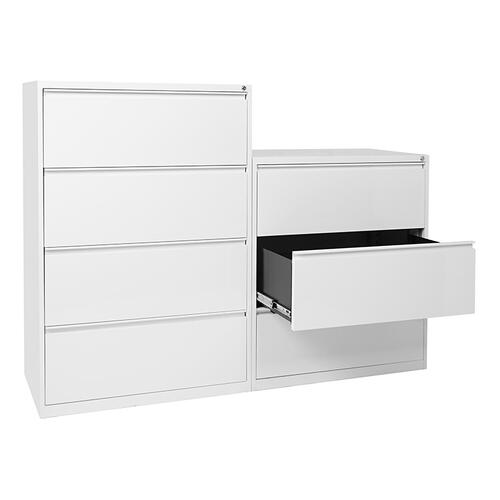 "36"" Wide 3 Drawer Lateral File With Core-removeable Lock & Adjustable Glides"