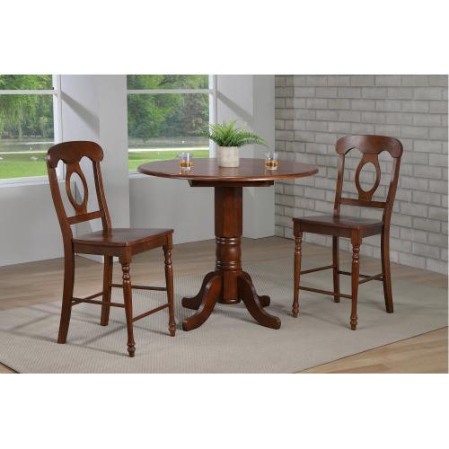 Round Drop Leaf Pub Table Set w/Napoleon Stools (3 Piece)