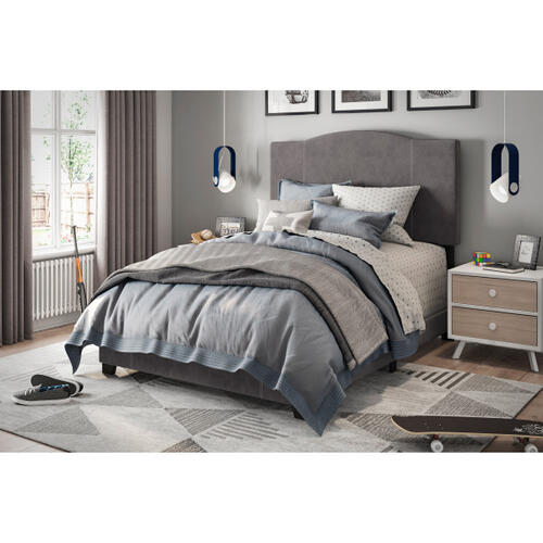 Accentrics Home - Stitched Camel Back Full Upholstered Bed in Cement Gray