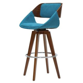 Cyprus KD Fabric Counter Stool, Santorini Teal/Walnut