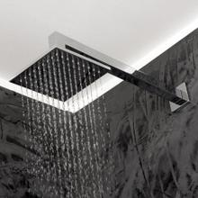 "Wall-mount tilting square rain shower head, 64 rubber nozzles. Arm and flange sold separately. 6""W, 6""D, 1 3/4""H"