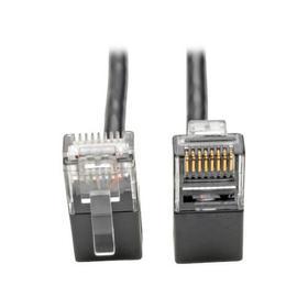 Right-Angle Cat6 Gigabit Snagless Molded Slim UTP Ethernet Cable (RJ45 M/M), Black, 2 ft.