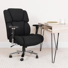 View Product - HERCULES Series 24\/7 Intensive Use Big & Tall 400 lb. Rated Black Fabric Executive Ergonomic Office Chair with Lumbar Knob