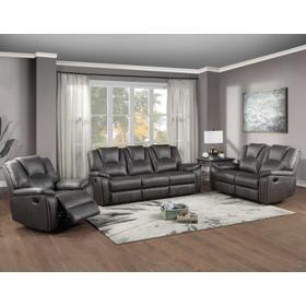 Katrine 3-Piece Manual Motion Set, Charcoal (Sofa, Loveseat & Chair)