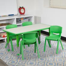See Details - 23.625''W x 47.25''L Rectangular Green Plastic Height Adjustable Activity Table Set with 4 Chairs