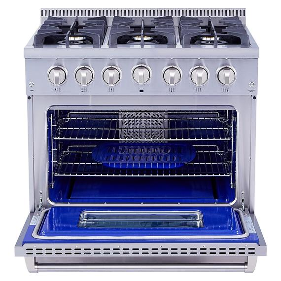 Thor Kitchen - 36 Inch Professional Dual Fuel Range In Stainless Steel