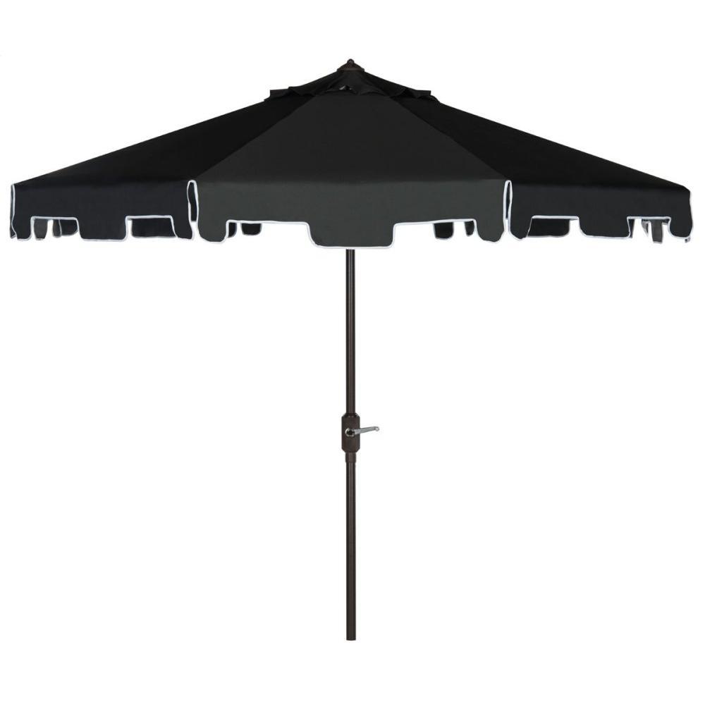 Zimmerman 9 Ft Crank Market Umbrella With Flap - Black / White