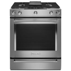 Kitchenaid  30-Inch 5-Burner Dual Fuel Convection Slide-In Range with Baking Drawer - Stainless Steel