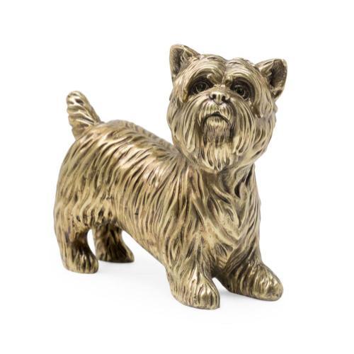 Yorkshire Terrier dog in light antique brass