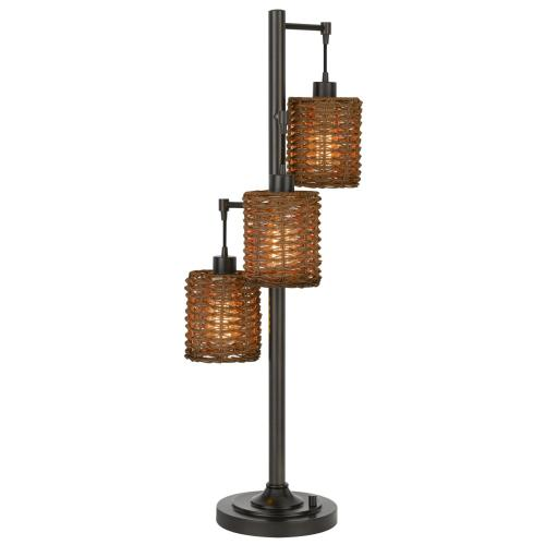 40W x3 Connell metal table lamp with rattan shades with a base 3 way rotary switch