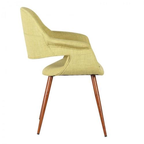 Armen Living Phoebe Mid-Century Dining Chair in Walnut Wood and Green Fabric