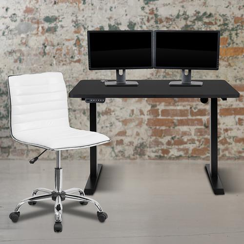 """Flash Furniture - 48"""" Wide Black Electric Height Adjustable Standing Desk with Designer Armless White Ribbed Swivel Task Office Chair"""