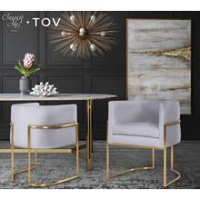 View Product - Giselle Grey Velvet Dining Chair - Gold Frame