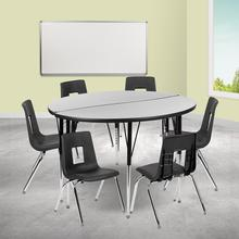 "47.5"" Circle Wave Collaborative Laminate Activity Table Set with 16"" Student Stack Chairs, Grey\/Black"