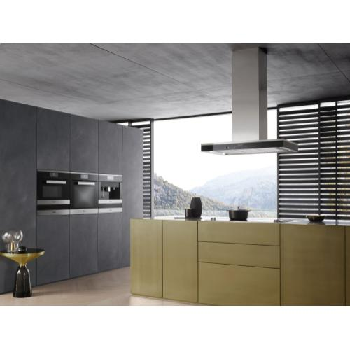 Island décor hood with energy-efficient LED lighting and touch controls for simple operation.