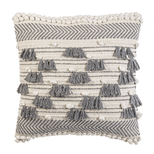 Grey & Natural Bobble & Fringe Pillow