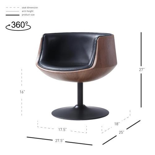 Product Image - Conan PU Swivel Accent Arm Chair Dark Walnut Frame, Monaco Black