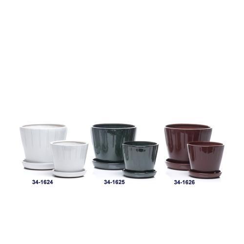 Casta Petits Pot w/ attached saucer, Deep Sea - Set of 2 (Min 4 sets)