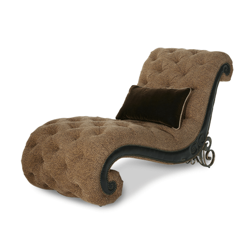 Leather/Fabric Armless Chaise - Opt1